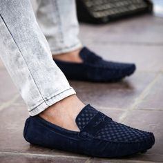 Blue British Style Men's Casual Shoes With Suede and Checked Design