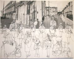 Rosie James - A collection of stitched and screenprinted works looking at the individual within the crowd Rosie James, A Level Art, Sewing Art, Gcse Art, Environmental Art, Textile Artists, Urban Landscape, Collage Art, Fiber Art