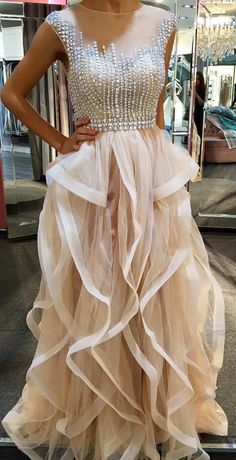 Pd6076 High Quality Prom Dress,Tulle Prom Dress,A-Line Prom Dress,O-Neck Prom Dress, Beading Evening on Luulla