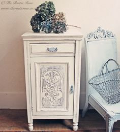 Rustic cupboard with gorgeous carving detail... could easily repaint something like this?
