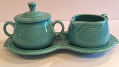 FIESTA Creamer/Sugar Bowl With Lid/Tray ~ Turquoise Excellent! #HomerLaughlinFiesta
