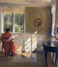 Books and Art: A Sunlit Interior (1909). Peter Ilsted (Danish, 1861-1933). Oil on canvas.