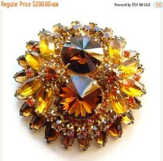 ON SALE Juliana DeLizza & Elster Topaz Rivoli Dynamite Brooch C1960s by redroselady on Etsy https://www.etsy.com/listing/105527342/on-sale-juliana-delizza-elster-topaz