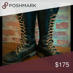 """Vintage 1970's Lineman's boots Vintage 1970's Sears lineman's boots.  Men's size 7 EE  ( women's 9), 15"""" tall, original laces and soft leather.  Minor scuffing, but overall good condition.  Perfect boot to complete your hipster style..... Sears Shoes Lace Up Boots"""