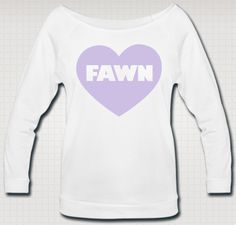 Love the dainty doe, frilly fawns and decadent deer and give a kawaii show out loud and in pastel lavender print. Enjoy the wide-neck 3/4 sleeve French terry shirt shirt that is sure to flatter your figure in a comfy yet stylish way.