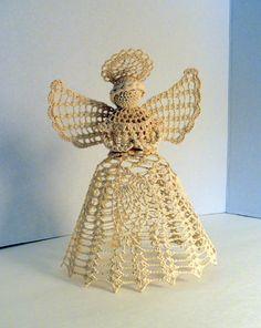 Handmade Ecru Crochet Christmas Angel Tree Topper by VintageGenie