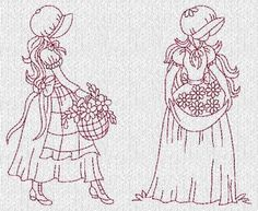 Sunbonnet Ladies Evenings Redwork Machine Embroidery Designs