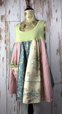 This lightweight spring tunic is cool and comfortable. Up cycled patchwork fabrics, baby doll style is comfortable and easy to wear with lots of funky secure stitching. Sleeveless T top and full skirt bottom, pastel colors soft and romantic. Sewing Clothes, Diy Clothes, Patchwork Fabric, Shirt Refashion, Altering Clothes, Lovely Dresses, Clothing Patterns, Chic Outfits, Girls Dresses