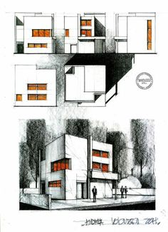 Design Drawing Elevations-Admission Exam UAUIM 2002 by dedeyutza on deviantART Sketch Architecture Concept Drawings, Architecture Sketchbook, Architecture Visualization, Architecture Student, Architecture Plan, Architecture Details, Classical Architecture, Planer Layout, Building Sketch