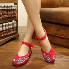 Embroidery Floral National Wind Chineseknot Buckle Vintage Flat Shoes