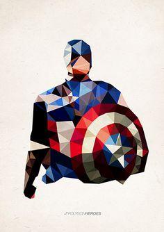 """""""Captain America"""" gefunden auf www.polygonheroes.com gepinned von der Hamburger Werbeagentur BlickeDeeler -> www.BlickeDeeler.de"""