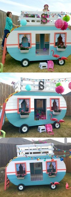 Camper Playhouse Plan I'll bet Uncle Mike would make this for his favorite niece and nephew.I'll bet Uncle Mike would make this for his favorite niece and nephew. Kids Playhouse Plans, Build A Playhouse, Garden Playhouse, Garden Toys, Little Girls Playhouse, Wooden Outdoor Playhouse, Diy Outdoor Toys, Outdoor Playset, Outdoor Toys For Kids