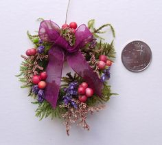Purple Accented Miniature Wreath for Your Dollhouse. $18.00, via Etsy.