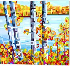 Fine Art Print featuring the painting Lakeside by Mandy Budan