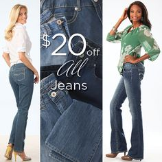 """TALL JEANS SALE NOW ON! From skinny to bootcut and everything in between, get 20% off ALL jeans until 4/20! Click through to see the full selection, including 36"""" to 39"""" inseams :)"""