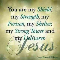 You are my shield, my strength, my portion, my shelter, my strong tower and my deliverer. Jesus