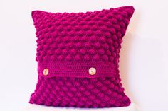 Crochet Cushion Cover, Wool Cushion Cover, Pink Cushion Cover