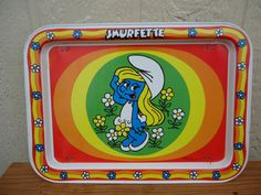 Smurf Trays and pictures. This page features Smurfette TV Tray, Sporty Smurfs Tray and Smurfette Tray. Vintage Love, Vintage Metal, Metal Tv Trays, Vintage Tv Trays, Smurfette, 80s Kids, Breakfast In Bed, Bellisima, Childhood Memories