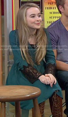 Maya's teal dress with black lace sleeves on Girl Meets World.  Outfit Details: https://wornontv.net/52613/ #GirlMeetsWorld