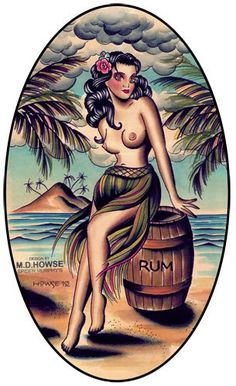 something like this with longer hair covering the chest or a bikini top on -- hula girl tattoo