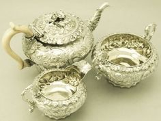silver service set | ... silver composite three piece tea service / set; part of our siver