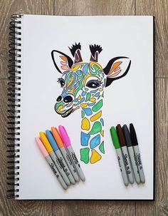 Bit of colour on this tribal giraffes head. Giraffe Head, Giraffe Art, Giraffes, Kawaii Chibi, Tribal Art, Sharpie, Art Work, Create Yourself, Pop Art