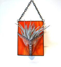 Air plant holder orange modern geometric stained glass wall planter indoor garden. $27,00, via Etsy.
