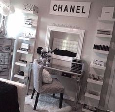 Dressing Room Decor! | Fashion, Beauty & Style Blogger - Pippa O'Connor  Bags to have in my glam room;  Chanel Mac Victorias Secret  Shoe room: Big designers only
