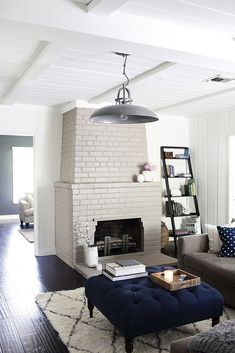 Modern rustic painted brick fireplaces ideas 75