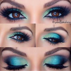 cute pretty blue green eyeshadow <3