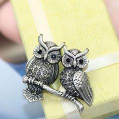 Jet Black Gems Brooches Vintage Owl Pin Brooch - Rhinestone ...