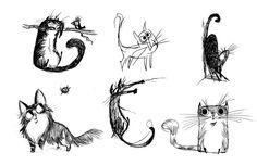 line drawing kitties