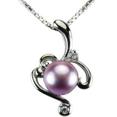 """Vine Spiral Lavender Cultured Pearl Cubic Zirconia Platinum Overlay CAREFREE Sterling Silver Pendant Necklace (16"""") Dahlia. $46.45"""