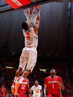 #JoeTales Joseph Bertrand #2 of the Illinois Fighting Illini dunks the ball against the Ohio State Buckeyes at Assembly Hall on January 5, 2013 in Champaign, Illinois. Ilinois defeated Ohio State 74-55.