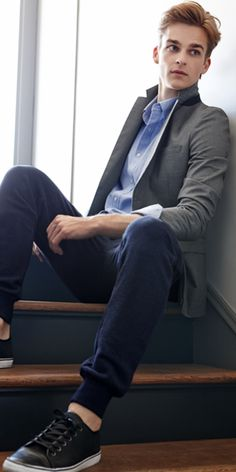 How to mix business with pleasure: pair these leather sneakers from Banana Republic with a structured blazer.