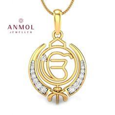 Kataria Jewellers Ek Onkar Khanda Guru Nanak Sikh Pendant in BIS Hallmarked Ganesh Pendant, Om Pendant, Diamond Pendant, Jewelry Accessories, Jewelry Design, Women Jewelry, Punjabi Culture, India Jewelry, Jewellery