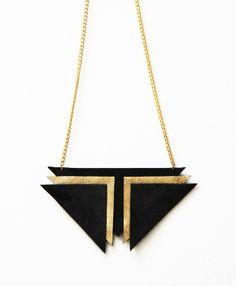 'Zhora' Black Gold Leather & Suede Chevron Statement Necklace £16.00