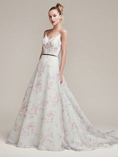 Sottero and Midgley - kira, Floral printed chiffon full A-line wedding dress, with ultra-feminine spaghetti straps and V-neckline and plunging back. Finished with zipper closure. Detachable velvet ribbon belt sold separately.