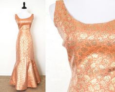 1950s Metallic Brocade Mermaid Evening Gown by YellowBeeVintage