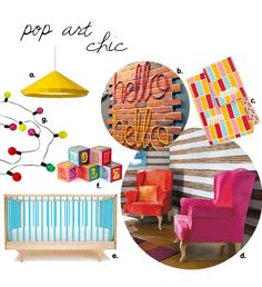 Pop Art chic nursery theme features popping pinks, bright yellows and vibrant accessories.