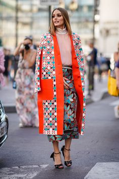 145cd1824 Olivia Palermo wears a flower print kimono jacket, a pink top, a... Paris Fashion  WeeksStreet ...