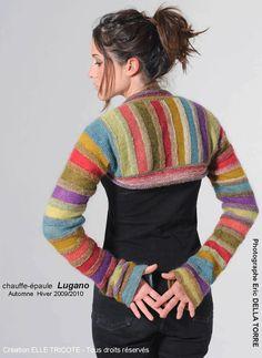 Chauffe-épaule Lugano, Automne Hiver 2009/2010 - Colourful striped knit bolero / shrug