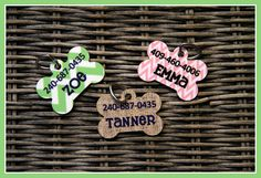 Pet Tag ID Tag Pets Cats Dogs Dog Tag Personalized Cat Tag Monogram Nautical Lime Anchors Dog Gift
