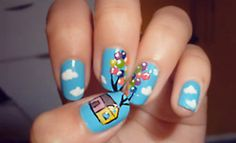 """Nails inspired by the Disney Pixar movie """"Up"""""""