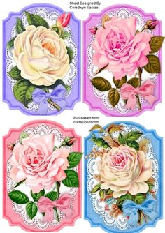 4 Beautiful Roses Toppers on Lace  on Craftsuprint designed by Ceredwyn Macrae - A lovely set of 4 Beautiful Roses toppers to make and give to anyone a lovely set for your craft stash in pin, peach ,and white al  has a bow  - Now available for download!