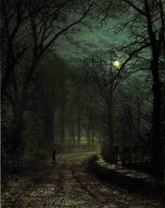 A Yorkshire Lane in November, John Atkinson Grimshaw. English (1836 - 1893)