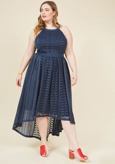 <p>With a bouquet in hand and your bestie behind you, the time has come to debut this deep blue gown from our ModCloth namesake label! Alternating geometric lace and swirled accent panels bring texture and dimension to this gorgeous dress, as its high-low hem showcases your sprightly steps - exactly as your pal envisioned!</p>