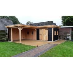 Cottage Garden Sheds, Home And Garden, Shed Patio Ideas, Man Cave Shed, Pergola, Barn, Backyard, Exterior, Outdoor Structures