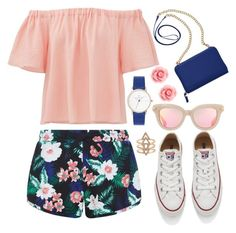 """""""Summer!"""" by joslynaurora on Polyvore featuring moda, New Look, Rebecca Taylor, Converse, TravelSmith, Summer, sunglasses, sneakers y short"""