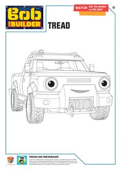 Bob The Builder Coloring Page Tread BobtheBuilder PBSKids